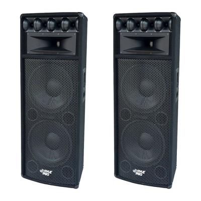 "Pyle PADH212 1600W Outdoor 7 Way Pa Loud-Speaker Cabinet Sound System w/ Dual 12"" Woofers, 3.4"" Piezo Tweeters, & 5""x12"" Super Horn Midrange (2 Pack)"