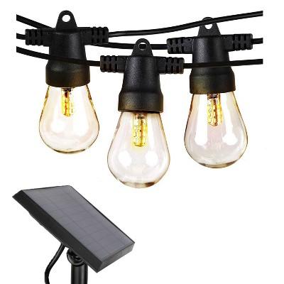 Brightech 48 Feet Weatherproof Solar Powered 1 Watt Warm LED Outdoor Hanging Edison Vintage Italian Cafe String Lights Bulbs, White