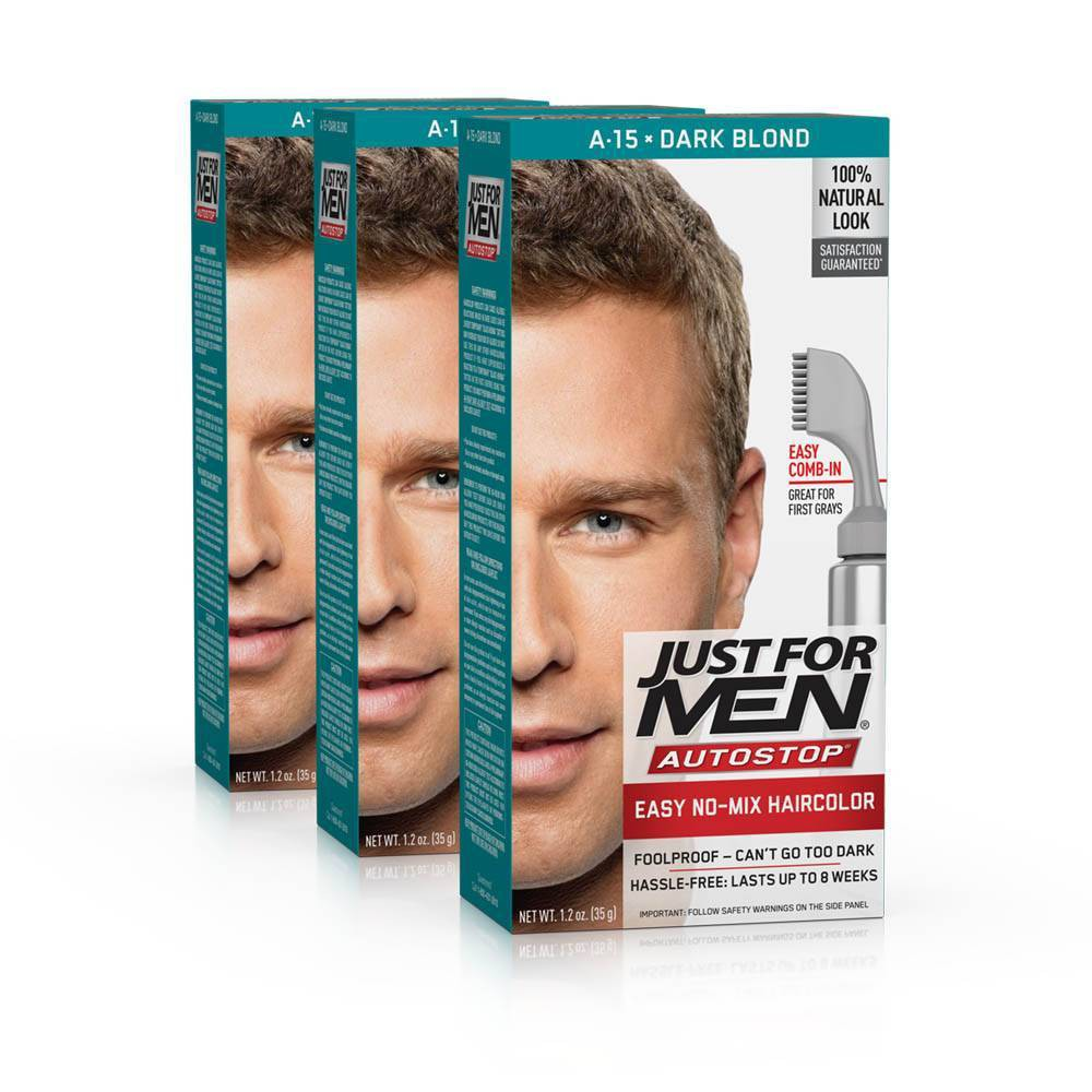 Image of Just For Men Auto Stop Dark Blonde Permanent Hair Color - 3pk, Dark Yellow