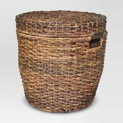 Wicker Lidded Round Storage Basket - Dark Global Brown - Threshold™