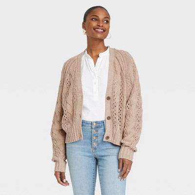Women's Button-Front Cable Stitch Cardigan - Universal Thread™