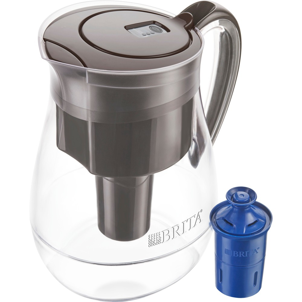 Image of Brita Large 10 Cup BPA Free Water Pitcher with 1 Longlast Filter - Black Coffee