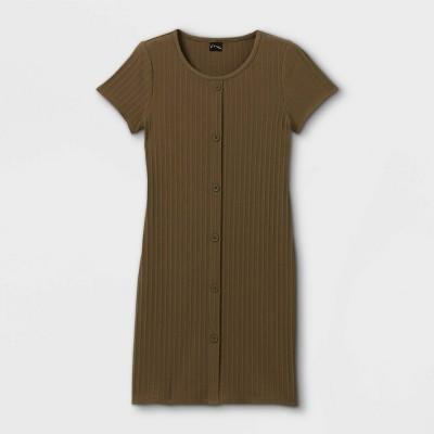 Girls' Button-Front Short Sleeve Ribbed Dress - art class™