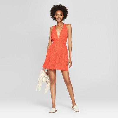 Womens Polka Dot Mini Dress - NEEDLEWORK Red