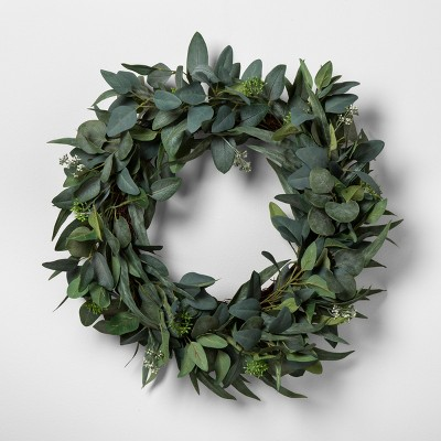 "24"" Faux Seeded Eucalyptus Wreath - Hearth & Hand™ with Magnolia"