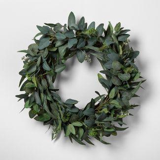 "24"" Faux Seeded Eucalyptus Wreath - Hearth & Hand™ with Magnolia"