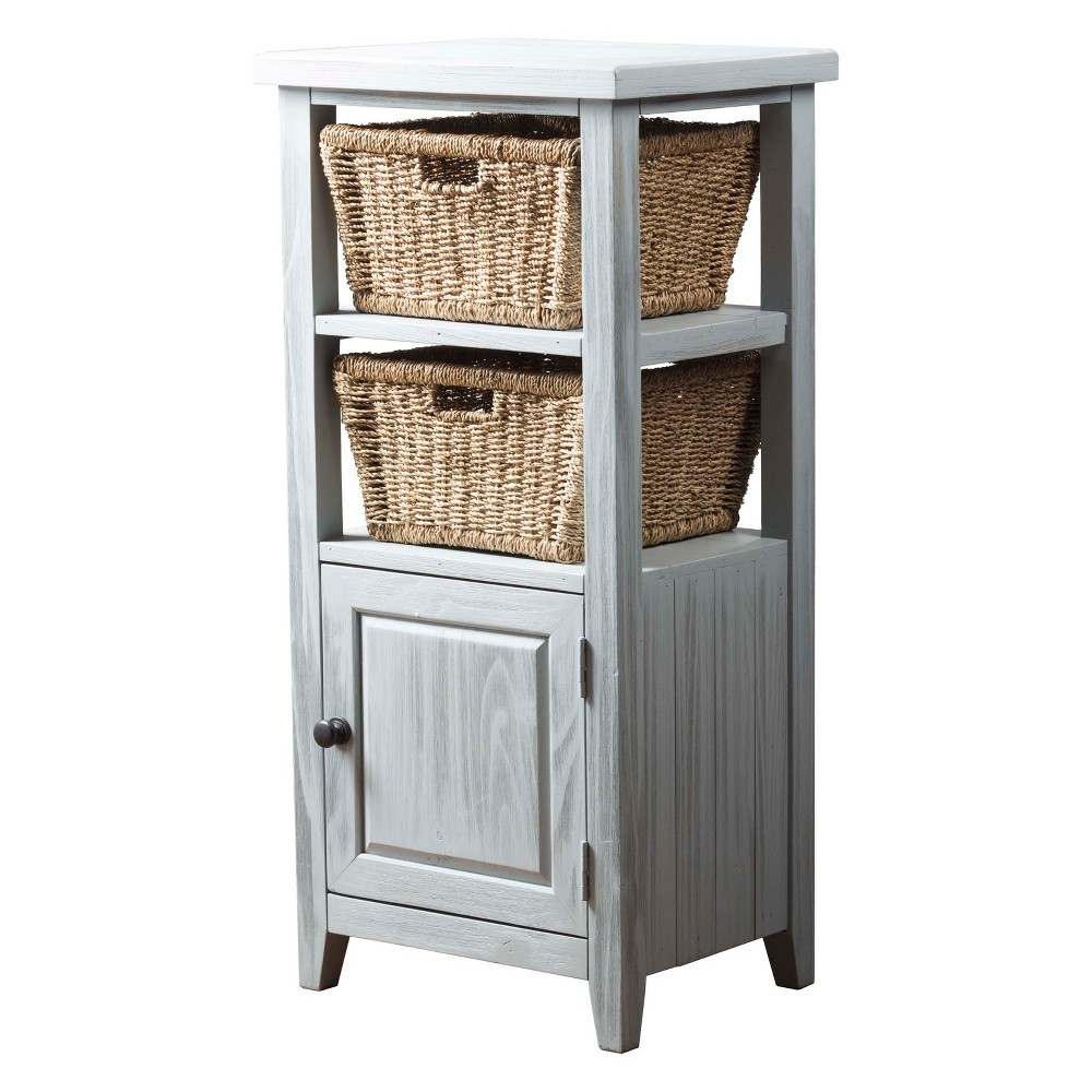 Image of Tuscan Retreat Basket Stand with Two (2) Baskets Powder Blue (Wirebrush) - Hillsdale Furniture, Pastel Blue
