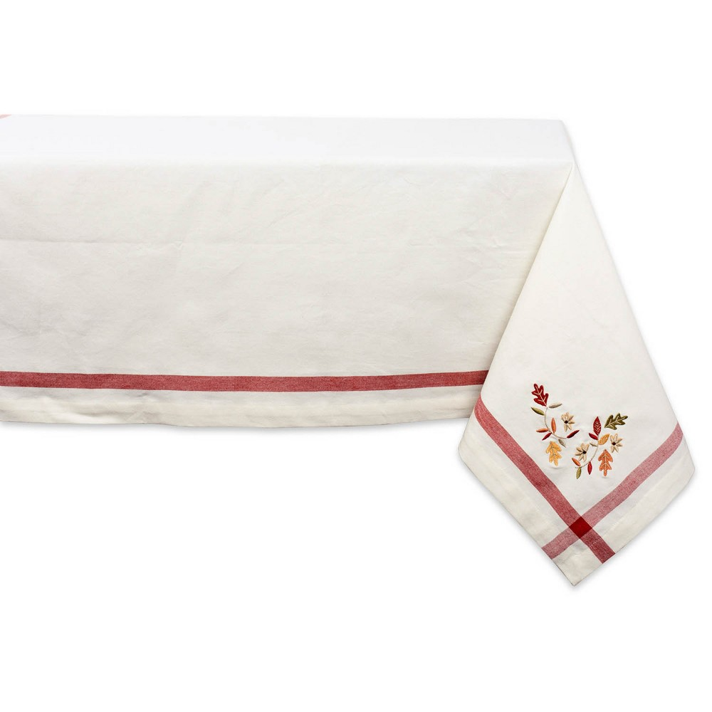 "Image of ""104""""x60"""" Embroidered Fall Leaves Corner With Border Tablecloth Natural - Design Imports"""
