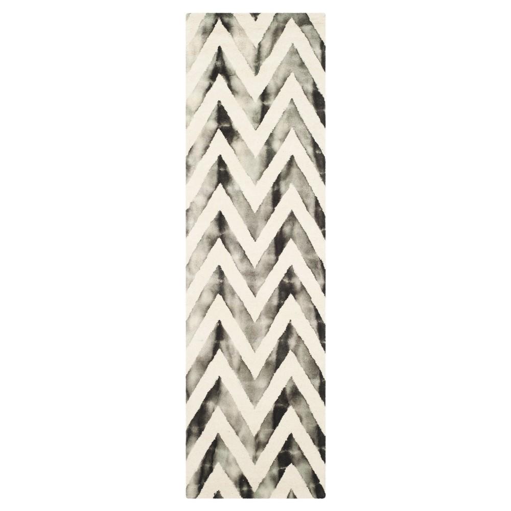 2'3X10' Dip Dye Design Runner Ivory/Charcoal (Ivory/Grey) - Safavieh