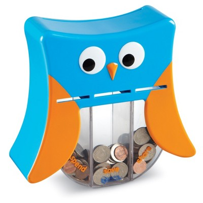 Learning Resources Wise Owl Teaching Bank, Money Toy, Save Spend Give Bank, Ages 3+