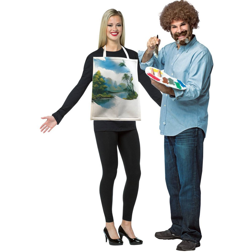 Image of Halloween Adult Bob Ross with Painting Kit Halloween Costume One Size, Adult Unisex, MultiColored