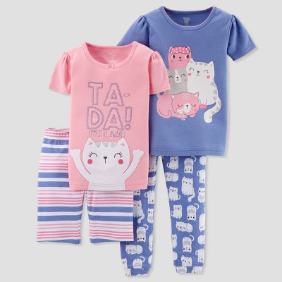 Baby Girls' 4pc Ta-Da Cat Family Pajama Set - Just One You® made by carter's Pink 9M