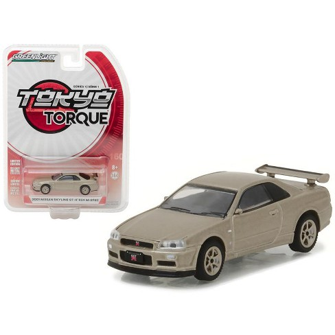 2001 Nissan Skyline GT-R R34 M-Spec Silica Breath Tokyo Torque Series 1 1/64 Diecast Model Car by Greenlight - image 1 of 1