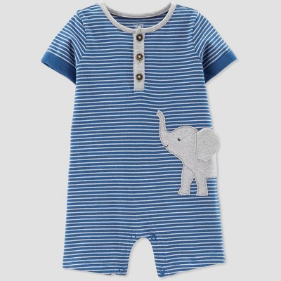 Baby Boys' Striped Elephant Romper - Just One You® made by carter's Blue 3M