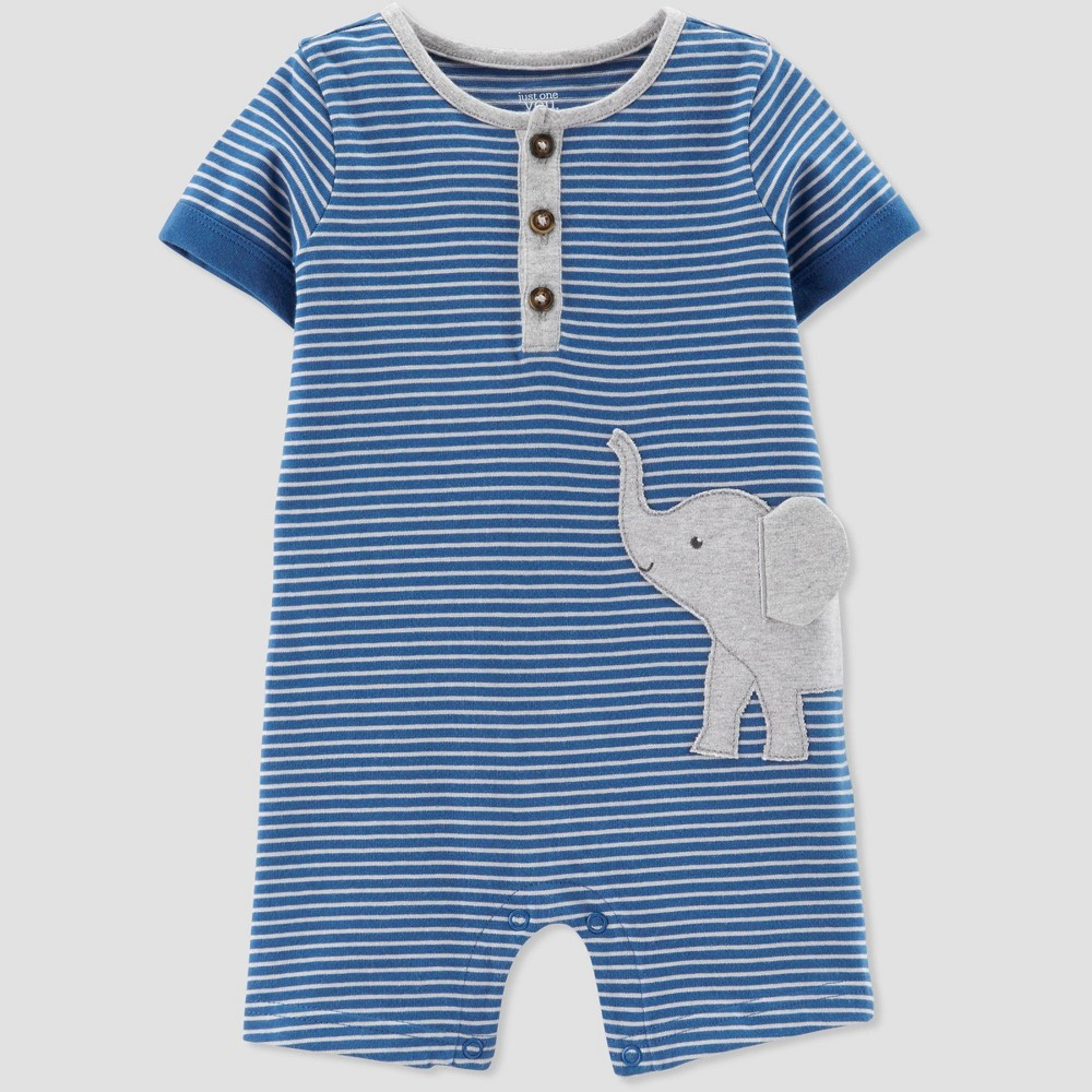 Baby Boys' Striped Elephant Romper - Just One You made by carter's Blue 24M