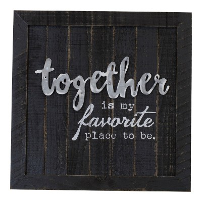 Wood  Together  Wall Sign Panels Black 16  x 16  - VIP Home & Garden