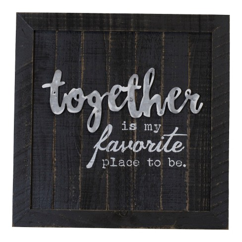 "Wood ""Together"" Wall Sign Panels Black 16"" x 16"" - VIP Home & Garden - image 1 of 2"