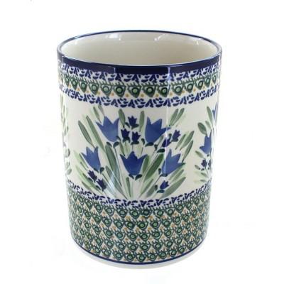Blue Rose Polish Pottery Blue Tulip Utensil Jar
