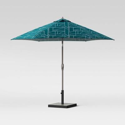 9' Round Geo Block Patio Umbrella Teal - Ash Pole - Project 62™