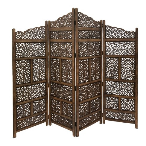 Hand Carved Foldable 4 Panel Wooden Parion Screen Room Divider Cocoa Benzara