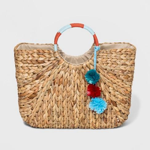 Circle Handle Straw Tote Handbag - A New Day™ Natural - image 1 of 9