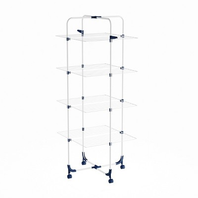 Clothes Drying Rack - 4-Tiered Laundry Station with Collapsible Shelves and Wheels for Folding, Sorting and Air Drying Garments by Hastings Home