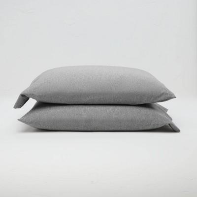 Standard Jersey Solid Pillowcase Set Light Gray - Casaluna™