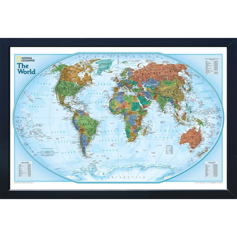 Image of Magnetic Travel Map - National Geographic - World Explorer - Standard, Blue