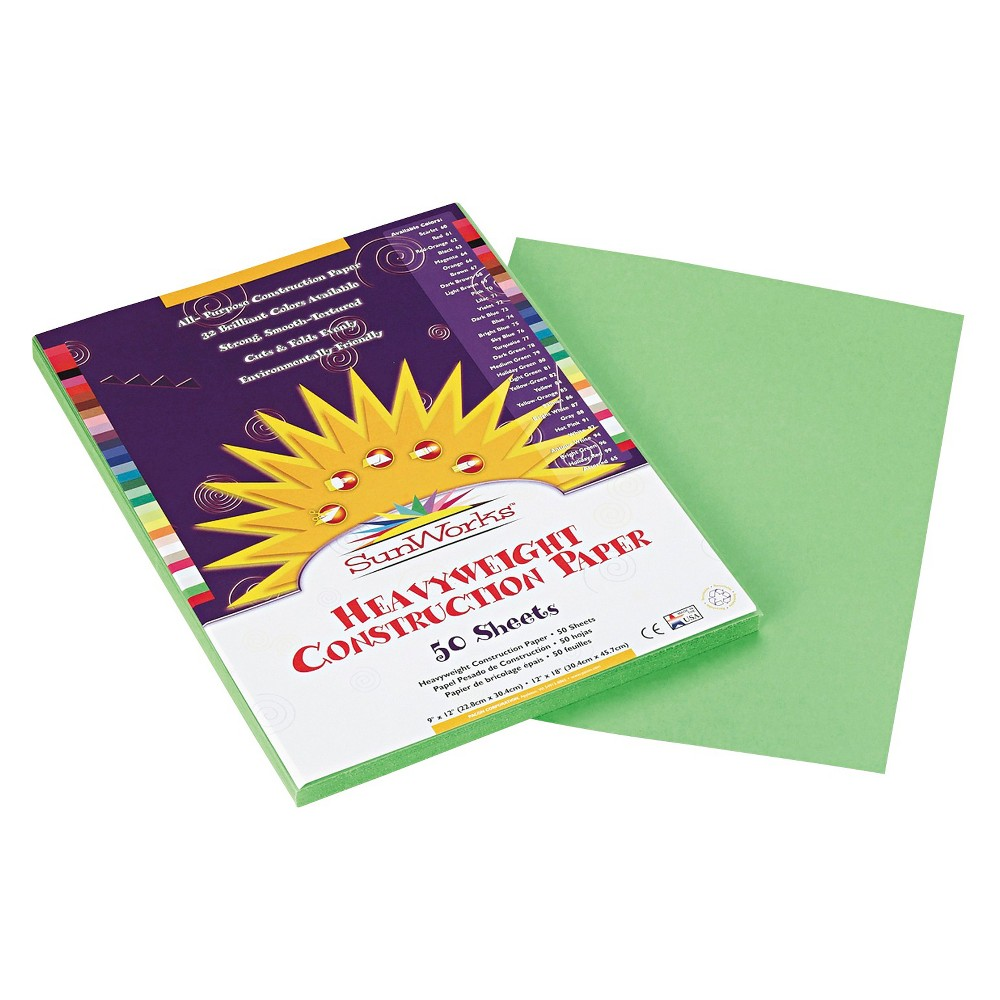 SunWorks Construction Paper, 58 lbs, 9 x 12 - Green (50 Sheets Per Pack), Light Green