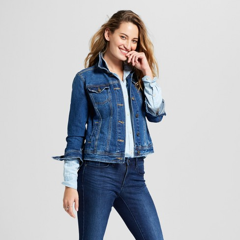 Women S Freeborn Denim Jacket Universal Thread Medium Wash Target