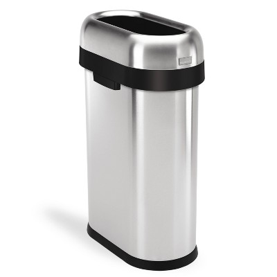 simplehuman 50L Slim Open Commercial Trash Can Brushed Stainless Steel