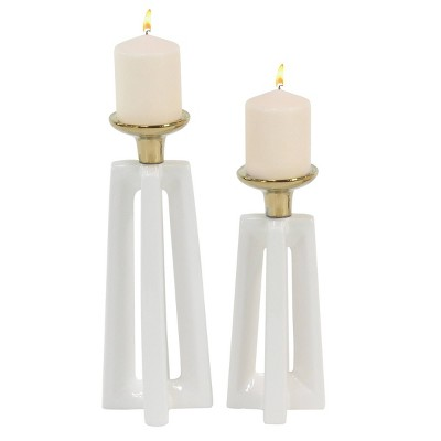 Set of 2 Stone Modern Candle Holders Gold/White - CosmoLiving by Cosmopolitan