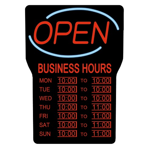 Led Open Sign With Hours Rsb 1342e Royal Sovereign Target
