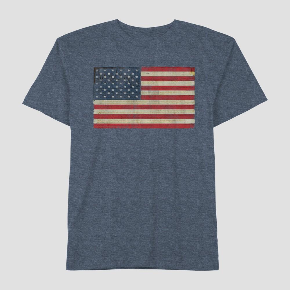 Well Worn Men's Big & Tall Americana Classic Flag Short Sleeve T-Shirt - Navy Base 4XLT, Blue