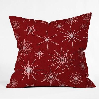 """16""""x16"""" Jacqueline Maldonado Snowflakes Square Throw Pillow Red - Deny Designs"""