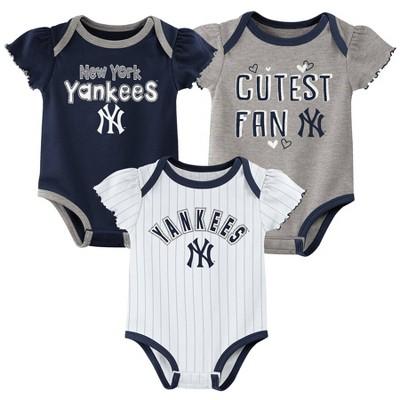 MLB New York Yankees Baby Girls' 3pk Bodysuit Set
