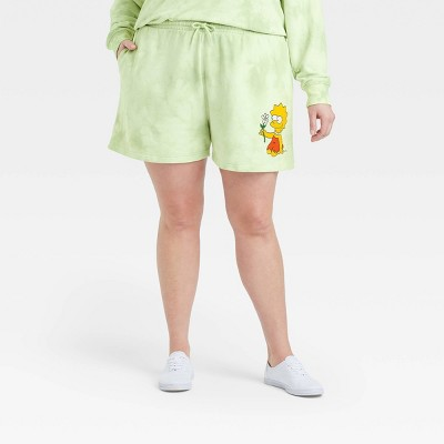 Women's Lisa Simpson Graphic Jogger Shorts - Green