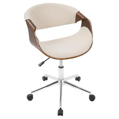 Curvo Mid   Century Modern Office Chair   Walnut And Cream   Lumisource :  Target
