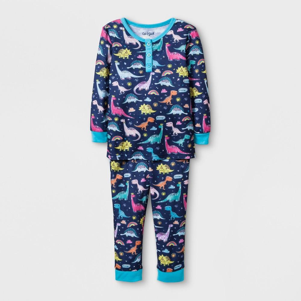 Toddler Girls' Dino Thermal Pajama Set - Cat & Jack Night Fall Blue 4T