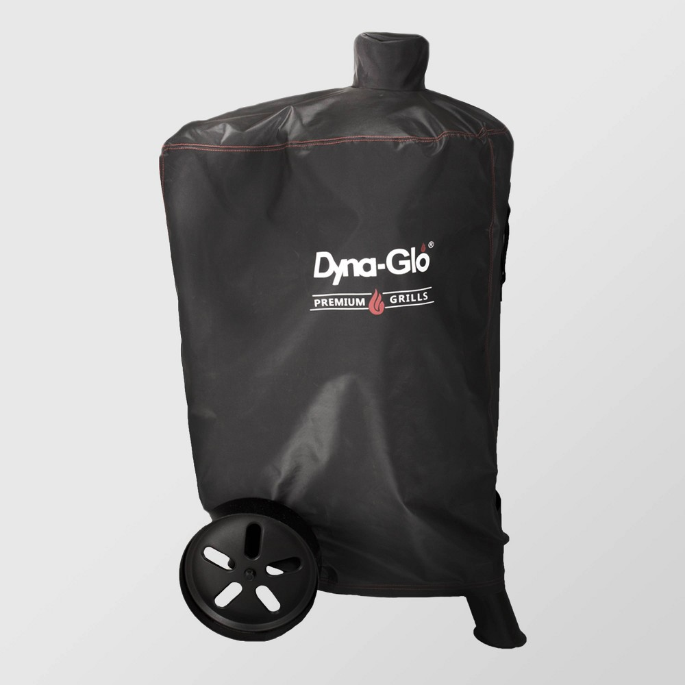 Premium Vertical Smoker Cover Black - Dyna-Glo The Premium Vertical Smoker Cover from Dyna-Glo will help you keep your outdoor grill looking and working great all season. Featuring a weather-resistant, water-repellent fabric and a double-stitch seam for durable, long-term use, this solid black smoker cover helps keep round smokers clean, dry and safely covered, with a hook-and-loop closure offering a secure fit throughout the season. Additionally, the easy-to-grip handle and contoured silhouette make the smoker cover easy to use and remove, giving you a convenient grill accessory you'll appreciate.