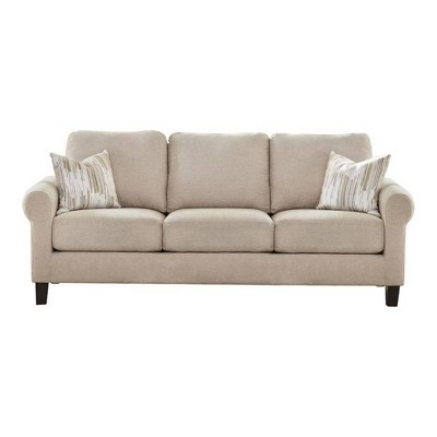 Sofa with Rolled Arms and Box Cushioned Seat Beige - Benzara