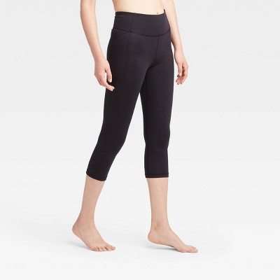 "Women's Contour Power Waist Mid-Rise Capri Leggings with Pocket 20"" - All in Motion™ Black XS"