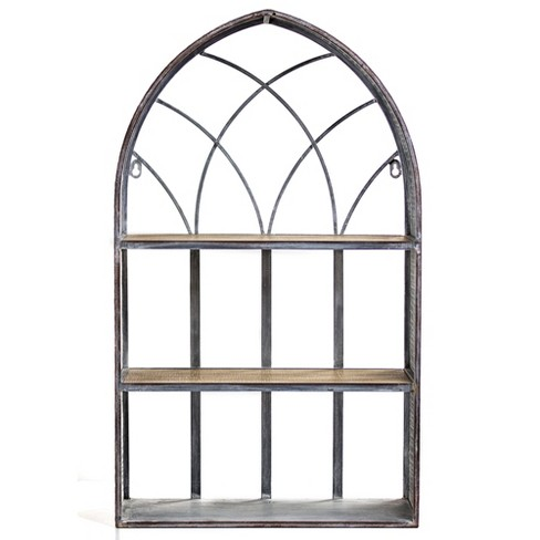 """27.7"""" x 16.5"""" Arched Galvanized Metal And Wood Wall Shelf - E2 Concepts - image 1 of 5"""