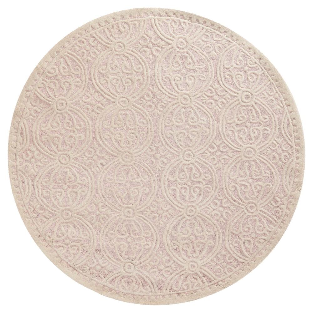 Pink Ivory Geometric Tufted Round Area Rug 8 Safavieh