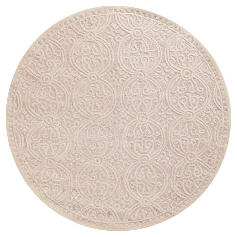 Pink/Ivory Color Block Tufted Round Accent Rug 4' - Safavieh - image 1 of 1