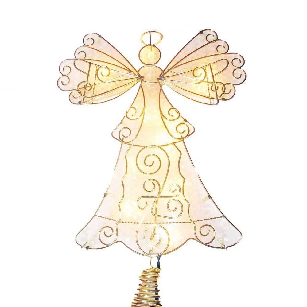 "Image of ""10"""" Kurt Adler 10 Light Metal Reflector Angel Tree Topper, Clear"""