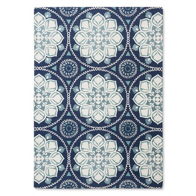 "5'X7'/60""X84"" Floral Woven Area Rug Blue - Threshold™"