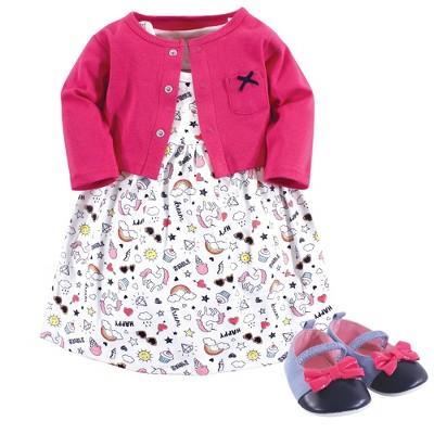 Little Treasure Baby Girl Cotton Dress, Cardigan and Shoe 3pc Set, Happy Rainbow