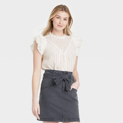 Women's Ruffle Sleeveless Eyelet Blouse - Universal Thread™