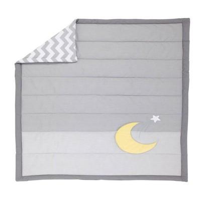 Little Love Star Moon Applique Reversible Quilt - Gray